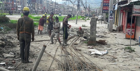 Nepali laborers constructing a business complex in Samakhusi Kathmandu during the lockdown.