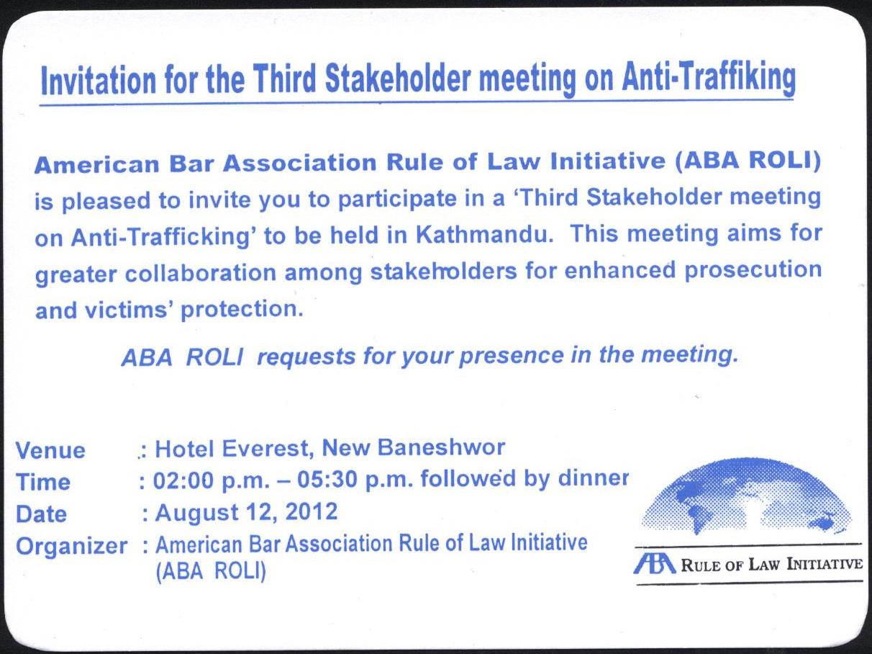 Third Stakeholder Meeting on Anti-Trafficking