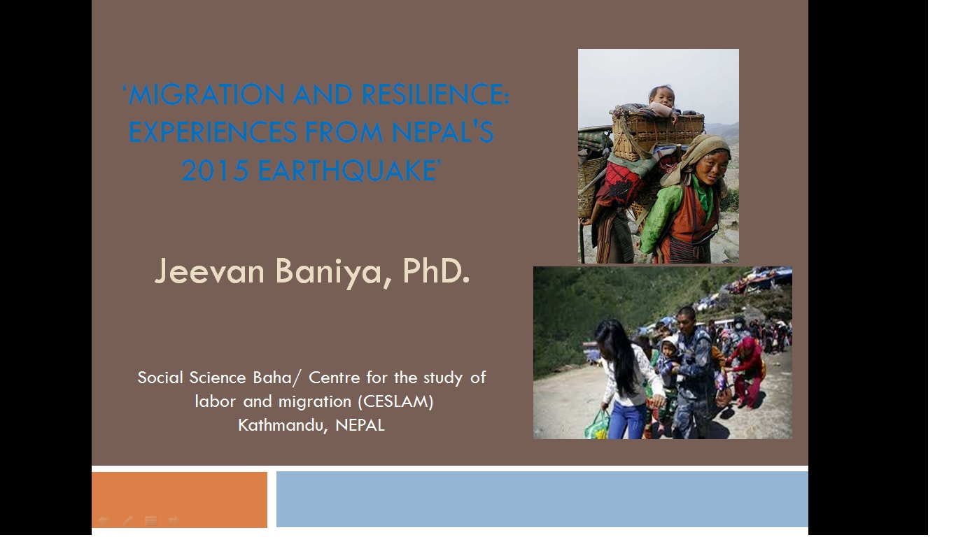 Migration and Resilience: Experiences from Nepal's 2015 Earthquake
