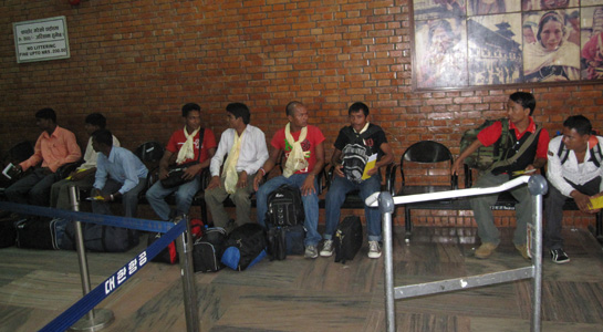 Migrants waiting at the Tribhuvan International Airport.